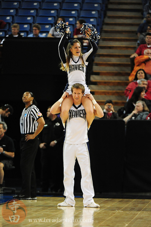 March 29, 2010; Sacramento, CA, USA; Xavier Musketeers cheerleaders during the 2010 NCAA Division I Women's Basketball Sacramento Regional Elite Eight game against the Stanford Cardinal at Arco Arena. The Cardinal defeated the Musketeers 55-53. Mandatory Credit: Kyle Terada-Terada Photo