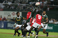 Action from the 2008-2009 opening event in the IRB World sevens series, the Emirates Airline Dubai Sevens 2008 tournament at the new Sevens Stadium in Dubai on 28th/29th November 2008. Kenya v South Africa.