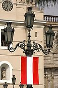 Peruvian flag on lamp post  Plaza de Armas  Lima, Peru