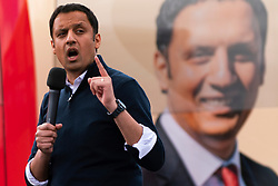 Glasgow, Scotland, UK. 5 May 2021. Scottish Labour Leader Anas Sarwar and former Prime Minister Gordon Brown appear at an eve of polls drive-in campaign rally in Glasgow today. Anas Sarwar speech.   Iain Masterton/Alamy Live News