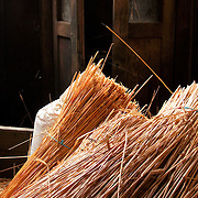 A bale of straw, used for for the roof of traditional houses at Ancares mountains, at an abandoned building