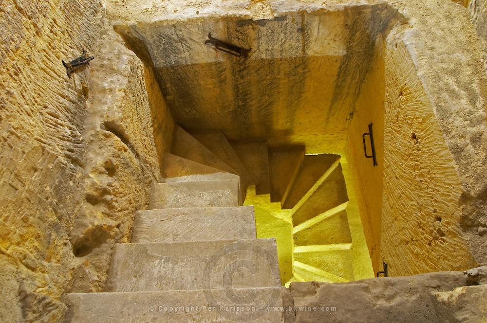 stairs to underground cellar couvent des jacobins saint emilion bordeaux france