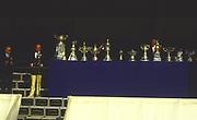 Henley, UNITED KINGDOM. Right, HRR Regatta Chairman, Peter CONI. with left  IOC President Juan Antonio  SAMARANCH, 1988 Henley Royal Regatta, Henley Reach. [Mandatory Credit Peter Spurrier/Intersport Images]