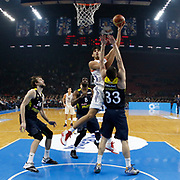 Anadolu Efes's and Fenerbahce's during their Turkish Basketball Spor Toto Super League match Anadolu Efes between Fenerbahce at the Abdi ipekci arena in Istanbul, Turkey, Thursday 24, December 2015. Photo by Aykut AKICI/TURKPIX