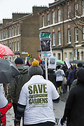 Cressingham Gardens resident during the March for Homes demonstration on 31st January 2015 in South London, United Kingdom. March for homes is a campaign group which demand solutions to the housing crisis and better housing for Londoners
