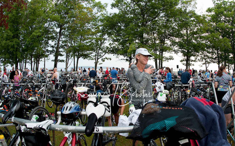 Timberman 70.3 Ironman competition at Ellacoya State Park in Gilford, NH  August 21, 2011.
