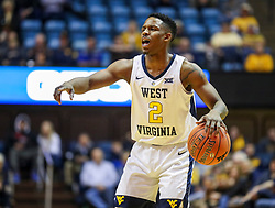 Dec 22, 2018; Morgantown, WV, USA; West Virginia Mountaineers guard Brandon Knapper (2) calls out a play during the second half against the Jacksonville State Gamecocks at WVU Coliseum. Mandatory Credit: Ben Queen-USA TODAY Sports