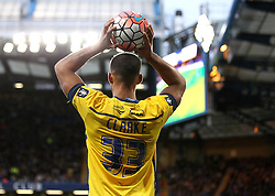 Jordan Clarke of Scunthorpe United takes a throw in - Mandatory byline: Robbie Stephenson/JMP - 10/01/2016 - FOOTBALL - Stamford Bridge - London, England - Chelsea v Scunthrope United - FA Cup Third Round