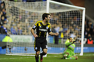 Chelsea's Juan Mata celebrates after he scores the opening goal. Barclays Premier league, Reading v Chelsea at the Madejski Stadium in Reading on Wednesday 30th Jan 2013. pic by Andrew Orchard, Andrew Orchard sports photography,