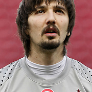 Trabzonspor's goalkeeper Tolga ZENGIN during their Turkish superleague soccer derby match Galatasaray between Trabzonspor at the TT Arena in Istanbul Turkey on Sunday, 10 April 2011. Photo by TURKPIX