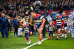 Alapati Leiua of Bristol Rugby walks out with the mascots - Rogan/JMP - 13/04/2018 - RUGBY UNION - Ashton Gate Stadium - Bristol, England - Bristol Rugby v Doncaster Knights - Greene King IPA Championship.