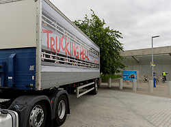 Protesters parked a lorry outside the Scottish Parliament to highlight the plight of farm animal transport across the country, ahead of Stop Live Transport 2018 International Awareness Day on June 14th.<br /> <br /> © Dave Johnston / EEm