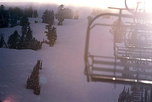 Ski lift in storm at Kirkwood Ski Resort, CA.