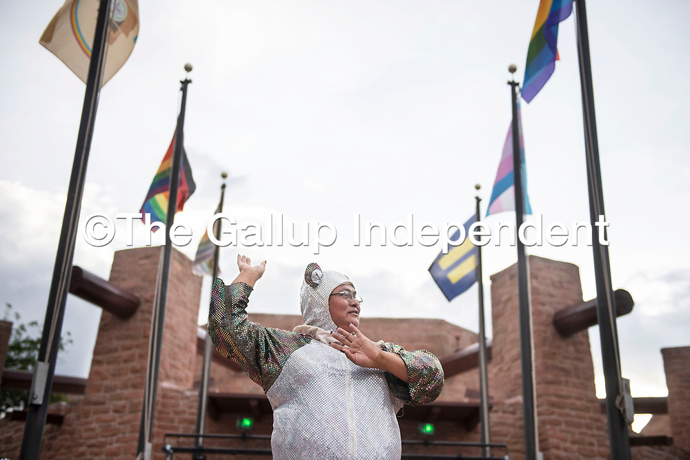 Mattie Jim at the Welcome Reception and Queer Showcase in front of the Navajo Nation Council Chambers Friday, June 28 as part of DinéPride 2019 in Window Rock.