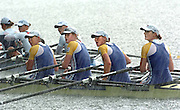 2004 FISA World Cup Regatta Lucerne Switzerland. 20.06.04. The GB womens quad GBR W4X ask the finish line judge's for their position in the final learning severel minutes after the race that they had won. left to right Rebecca Romero, Debbie Flood, Frances Houghton and Alison Mowbray. Rowing Course, Lake Rottsee, Lucerne, SWITZERLAND. [Mandatory Credit: Peter Spurrier: Intersport Images] . Rowing in rain hail storm, © Peter SPURRIER, Atmospheric, Rowing