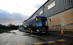 Port Vale bus arrives at the innocent New Lawn Stadium prior to kick-off - Mandatory by-line: Nizaam Jones/JMP - 16/01/2021 - FOOTBALL - innocent New Lawn Stadium - Nailsworth, England - Forest Green Rovers v Port Vale - Sky Bet League Two