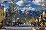 Looking down Central Avenue in spring at sunset in Whitefish, Montana, USA