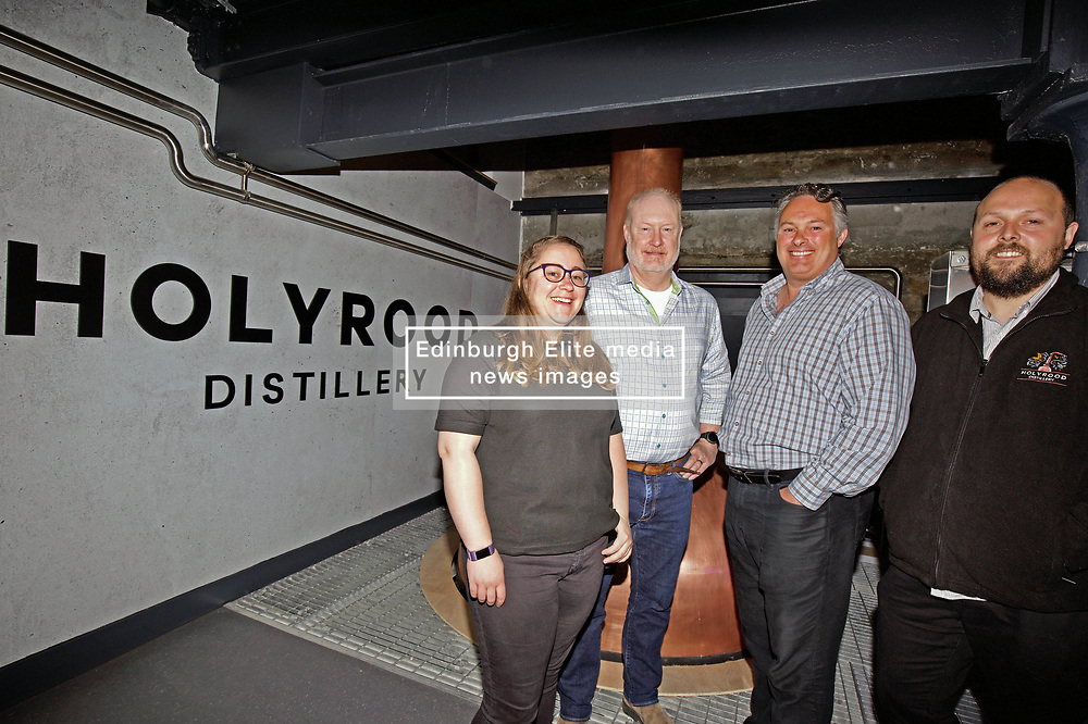 Distiller Elizabeth Machin, co-founders Rob Carpenter and David Robertson, with distillery manager Jack Mayo, at Holyrood Distillery, Edinburgh, as it prepared to welcome visitors. pic copyright Terry Murden @edinburghelitemedia