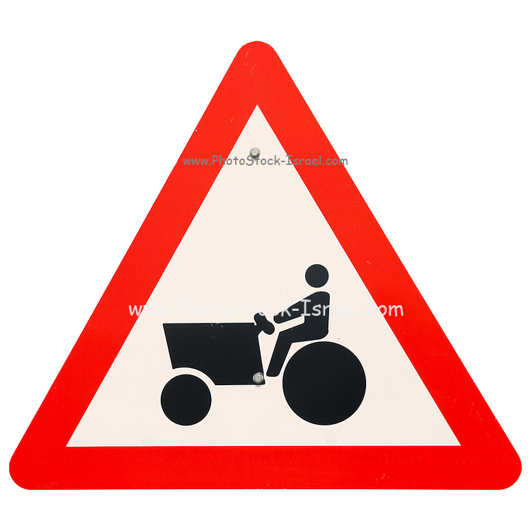 Israel, tractor and agricultural equipment warning road sign on white background