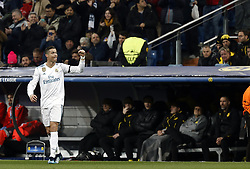December 6, 2017 - Madrid, Spain - Cristiano Ronaldo of Real Madrid celebrates after scoring a goal to make it 1-0 during the UEFA Champions League group H match between Real Madrid and Borussia Dortmund at Santiago Bernabéu. (Credit Image: © Manu_reino/SOPA via ZUMA Wire)