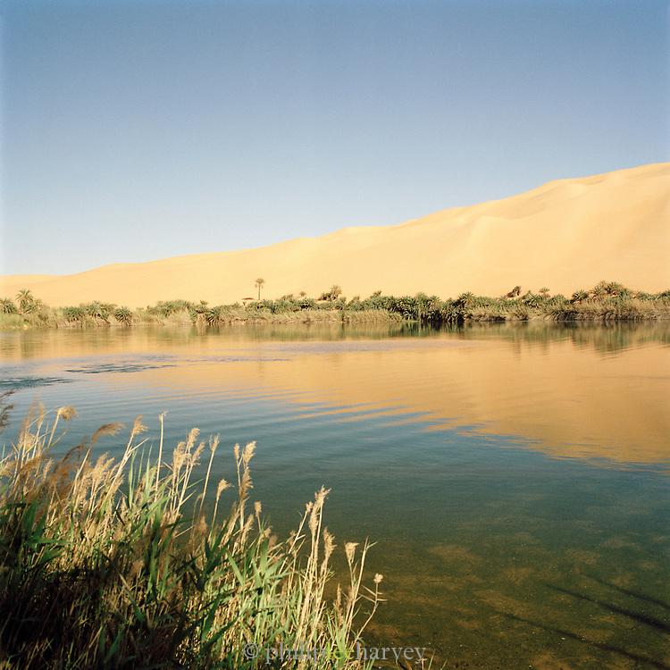 Gebraoun Lake, part of the Ubari lakes, Sahara Desert, Libya