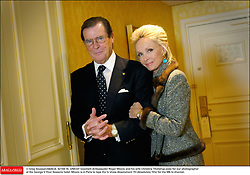 © Greg Soussan/ABACA. 42159-16. UNICEF Goodwill Ambassador Roger Moore and his wife Christina Tholstrup pose for our photographerat the George V Four Seasons hotel. Moore is in Paris to tape the tv show Absolument 70 (Absolutely 70's) for the M6 tv channel.