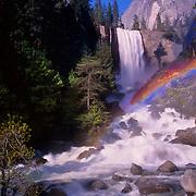Striking Vernal Falls drops right alongside the Mist Trail in Yosemite National Park, CA.