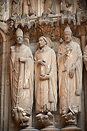 .South Porch, Right Portal c. 1194-1230,  Cathedral of Notre Dame, Chartres, France. Gothic statues of from left to right they are .Statues- Martin, Jerome and Gregory. A UNESCO World Heritage Site. .<br /> <br /> Visit our MEDIEVAL ART PHOTO COLLECTIONS for more   photos  to download or buy as prints https://funkystock.photoshelter.com/gallery-collection/Medieval-Middle-Ages-Art-Artefacts-Antiquities-Pictures-Images-of/C0000YpKXiAHnG2k