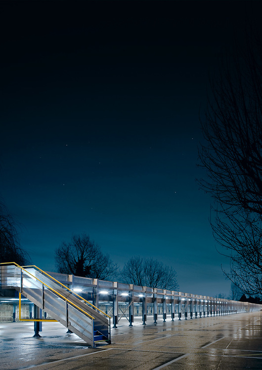 car park at night part of suburbia series by andy spain