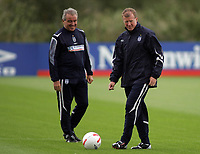 Photo: Paul Thomas.<br /> England training at Carrington. 30/08/2006. <br /> <br /> Terry Venables and Steve McClaren.