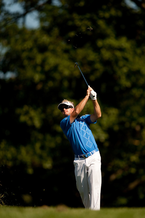 NEWTOWN SQUARE, PA - JULY 2: Brian Gay plays a shot during the second round of the AT&T National Classic at Aronimink Golf Club on July 2, 2010 in Newtown Square, Pennsylvania. (Photo by Darren Carroll) *** Local Caption *** Brian Gay