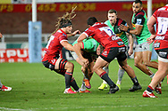 Gloucester's Jordy Reid Gloucester's Franco Marais Harlequins Glen Young during the Gallagher Premiership Rugby match between Gloucester Rugby and Harlequins at the Kingsholm Stadium, Gloucester, United Kingdom on 14 September 2020.