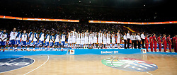 Players of France, Spain and Russia at medal ceremony after the final basketball game between National basketball teams of Spain and France at FIBA Europe Eurobasket Lithuania 2011, on September 18, 2011, in Arena Zalgirio, Kaunas, Lithuania. Spain defeated France 98-85 and became European Champion 2011, France placed second and Russia third. (Photo by Vid Ponikvar / Sportida)