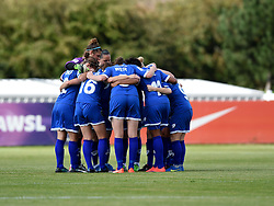 Bristol Academy Women huddle ahead of resuming the second half of the Continental Types cup fixture against Liverpool Ladies - Mandatory by-line: Paul Knight/JMP - Mobile: 07966 386802 - 13/09/2015 -  FOOTBALL - Stoke Gifford Stadium - Bristol, England -  Bristol Academy Women v Liverpool Ladies FC - FA WSL Continental Tyres Cup