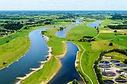 Nederland, Overijssel, Gemeente Deventer, 17-07-2017;  In het kader van het Programma Ruimte voor de Rivier is er in de Keizers- en Stobbenwaarden een hoogwatergeul aangelegd.<br /> View on the west bank of river IJssel (north of Deventer. The floodplains with the new flood channel.<br /> luchtfoto (toeslag op standard tarieven);<br /> aerial photo (additional fee required);<br /> copyright foto/photo Siebe Swart