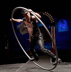 The Raunch <br /> London Wonderground, Southbank, London, Great Britain <br /> press photocall <br /> 10th May 2016 <br /> <br /> Jo Moss - Cyr Wheel <br /> <br /> <br /> <br /> <br /> Photograph by Elliott Franks <br /> Image licensed to Elliott Franks Photography Services