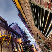 Alley behind the closed down Pickwick Plaza building at 10t and McGee, downtown Kansas City, Missouri.