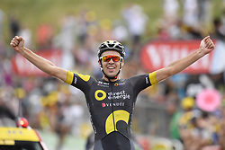July 8, 2017 - Station Des Rousses, FRANCE - French Lilian Calmejane of Direct Energie celebrates after winning the eighth stage of the 104th edition of the Tour de France cycling race, 187,5km from Dole to Station des Rousses, France, Saturday 08 July 2017. This year's Tour de France takes place from July first to July 23rd...BELGA PHOTO DIRK WAEM (Credit Image: © Dirk Waem/Belga via ZUMA Press)