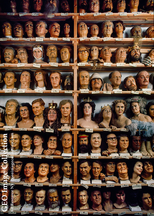 Wax models of celebrity heads are kept at Madame Tussaud's Museum.