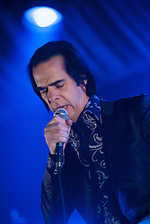 Frontman Nick Cave, of Nick Cave and the Bad Seeds, performs on stage tonight at The Barrowlands, Glasgow, Scotland.<br /> ©Michael Schofield.