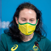 TOKYO, JAPAN - JULY 20: Evelyn Halls, deputy chefs de mission for the Australian Olympic Committee during a Press Conference in the Main Press Centre ahead of the Tokyo 2020 Olympic Games on July 20, 2021 in Tokyo, Japan. (Photo by Tim Clayton/Corbis via Getty Images)