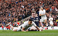 Anthony Watson of England goes over for a try that was disallowed for a forward pass during the RBS 6 Nations match at Twickenham Stadium, Twickenham<br /> Picture by Andrew Tobin/Focus Images Ltd +44 7710 761829<br /> 14/03/2015