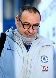 Chelsea manager Maurizio Sarri arrives at Stamford Bridge before the match