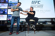 LAS VEGAS, NV - JULY 6:  Stipe Miocic sings to UFC announcer Bruce Buffer during the UFC Lip Sync Challenge in Lagasse's Stadium at The Palazzo Las Vegas on July 6, 2016 in Las Vegas, Nevada. (Photo by Cooper Neill/Zuffa LLC/Zuffa LLC via Getty Images) *** Local Caption *** Stipe Miocic; Bruce Buffer