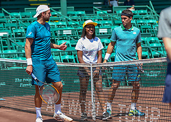 April 11, 2018 - Houston, TX, U.S. - HOUSTON, TX - APRIL 11:  Tennys Sandgren of the United States and Nicolas Kicker of Argentina watch the coin toss before the beginning of their match during the second round of the Men's Clay Court Championships on April 11, 2018 at River Oaks Country Club in Houston, Texas.  (Photo by Leslie Plaza Johnson/Icon Sportswire) (Credit Image: © Leslie Plaza Johnson/Icon SMI via ZUMA Press)