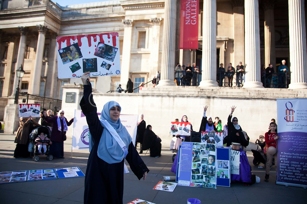 Muslim Women Society for the future campaign outside the national Gallery to highlight the issues of women imprisoned and violated by the Egyptian Government.