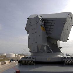 Ingleside, Texas January 12, 2006:  The RIM 116 Rolling Airframe Missle (RAM) launcher on the USS San Antonio docked at Ingleside.  <br /> ©Bob Daemmrich
