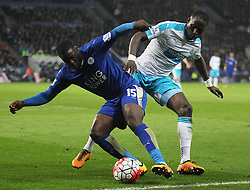 Jeffrey Schlupp of Leicester City (L) and Moussa Sissoko of Newcastle United in action - Mandatory byline: Jack Phillips/JMP - 14/03/2016 - FOOTBALL - King Power Stadium - Leicester, England - Leicester City v Newcastle United - Barclays Premier League
