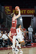 Stanford Cardinal forward Max Murrell (10) shoots during an NCAA men's basketball game against the Southern California Trojans, Wednesday, March 3, 2021, in Los Angeles. USC defeated Stanford 79-42. (Jon Endow/Image of Sport)