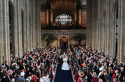 Princess Eugenie and Jack Brooksbank walks down the aisle after they were married at St George's Chapel in Windsor Castle.